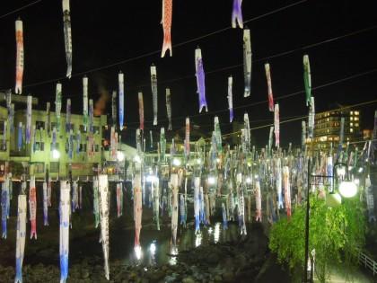 杖立温泉鯉のぼり祭ライトアップ